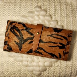 Madewell Genuine Calf Hair Wallet Maple Syrup NWT